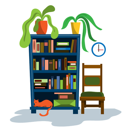 A bookcase with full shelves of books and a lying cat. Potted plants in the closet. Illustration in flat style