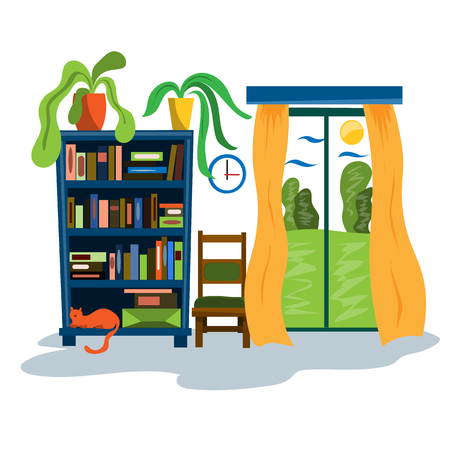 Bookcase, panoramic window and chair in the interior of the room. Illustration in flat style Stock fotó - 123216315