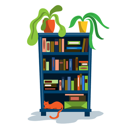 A bookcase full of books and a soft chair with a back. Illustration in flat style