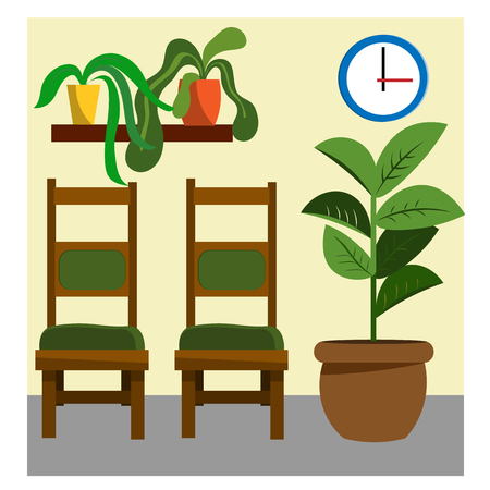 Waiting room with chairs and indoor plants. Illustration in flat style Ilustracja