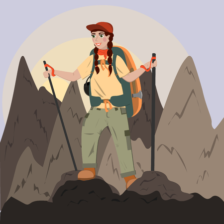 A girl with a backpack climbs to the top of the mountains, hiking in the mountains, trekking. Illustration in flat style Stock Illustratie