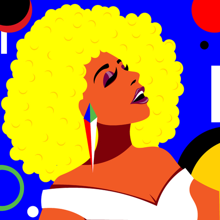 Beautiful and bright girl in the style of pop art head thrown back. Illustration in retro pop art style. Standard-Bild - 123216321