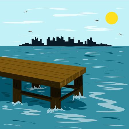 Muelle de madera en el mar y la ciudad en el horizonte en un cálido día de verano. Ilustración en estilo plano