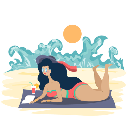 A girl in a bathing suit runs on the beach in a bright sun. Illustration in flat style Standard-Bild - 124853542