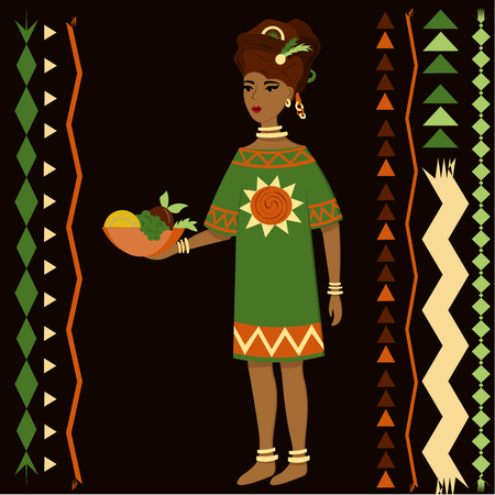 African girl in national dress with a bowl of fruit in her hands