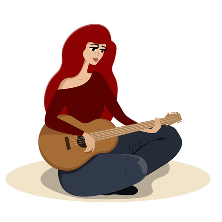 A beautiful young woman sits on the floor and plays the guitar Illustration
