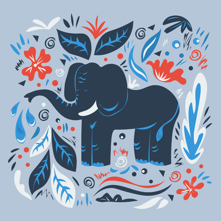 Graphic vector illustration with ornaments and symbols. Large elephant with a fountain of the trunk