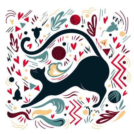 Graphic vector illustration with ornaments and symbols. Beautiful flexible black cat gently stretches Illustration