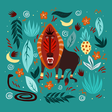 Graphic vector illustration with ornaments and symbols. Dangerous and evil monkey with open maw, snake and jungle nature. Illustration for cards, t-shirts, covers for notebooks.