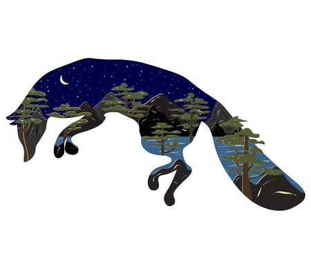 Graphic illustration in the form of a silhouette of a fox and nature inside. Night landscape of the moon of the lake, mountains and pines. Illustration for t-shirts, trenches or covers Illustration
