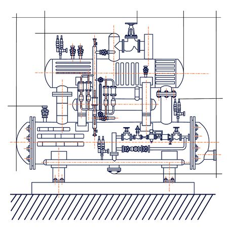 Smooth free technological drawing of the refrigeration unit. Drawing of a machine chill.