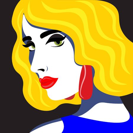 Beautiful and bright girl in the style of pop art head thrown back. Illustration in retro pop art style.