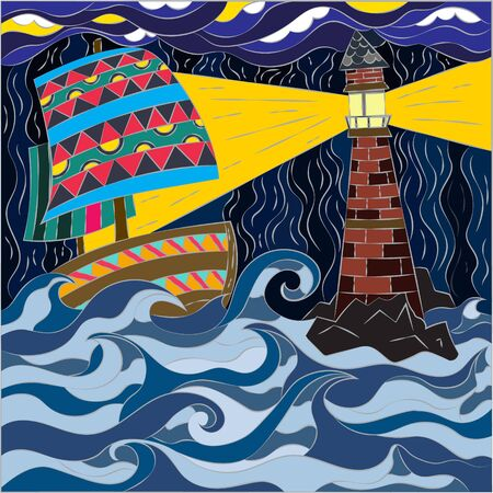 Abstract pattern in mosaic style. graphics for wallpapers and covers. Raging ocean, sailing ship and bright big lighthouse