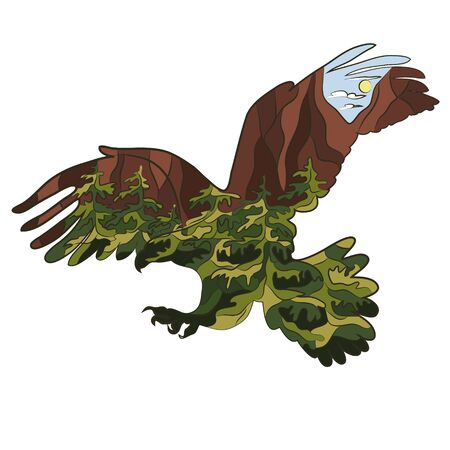 Graphic illustration in the form of a silhouette of an eagle and nature inside. Mountain rocky forest landscape. Illustration for t-shirts, trenches or covers
