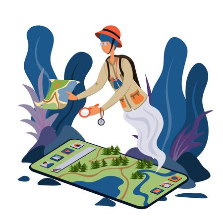 Mobile phone and terrain navigation software. Map and navigation. Search system. Isometric illustration. Ilustracja