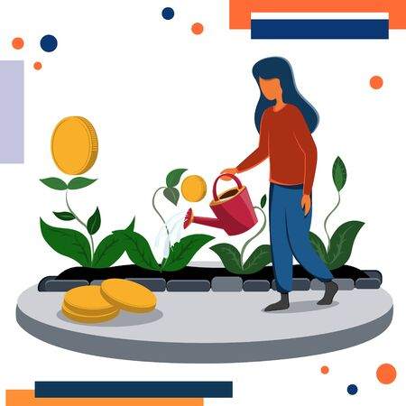 A young woman watering a sprout with a watering can bringing gold coins. Income from financial investments. Ilustração