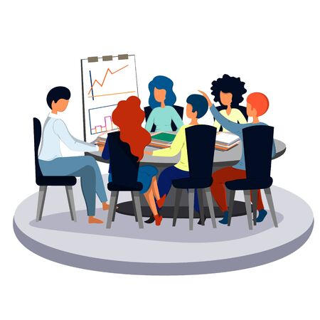 Employee speech to colleagues at a meeting in the office. Business and office.