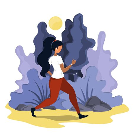 A young woman runs in the morning outdoors. Nature and early morning.  イラスト・ベクター素材