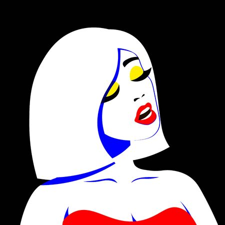 Young woman model in profile in pop art style. Sexy girl for advertising with bright hair Vettoriali