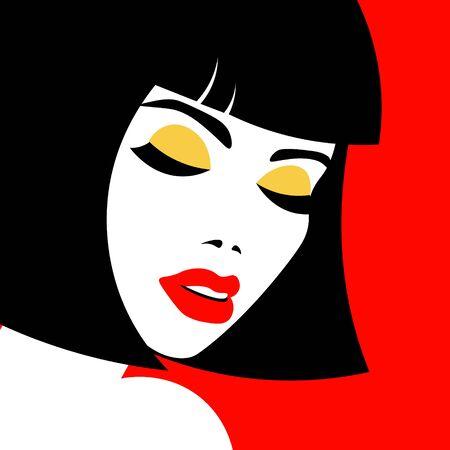 Junges Frauenmodell im Profil im Pop-Art-Stil. Sexy Girl für Werbung mit hellen Haaren