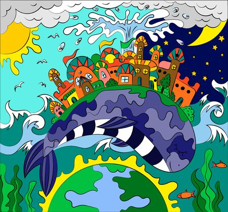 Fairytale illustration of a city on the back of a whale. Planet day and night.