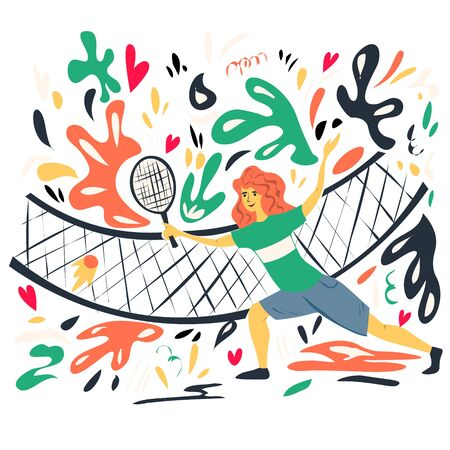 A young girl plays tennis. Abstract patterns. Hand drawing.