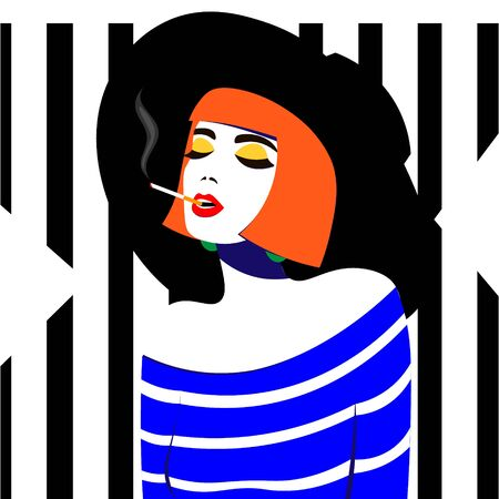 Young woman smoking cigarette  in pop art style.