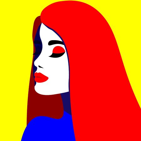 Young woman model in profile in pop art style. Sexy girl for advertising with bright hair Banque d'images - 142019404