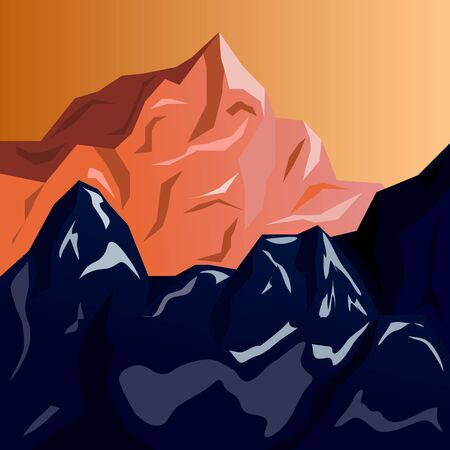 Mountain peaks at sunset. Illustration with a gradient.