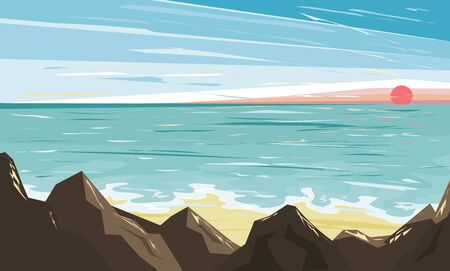 Sunset on the sea, beach and surf. Seascape in a flat style.