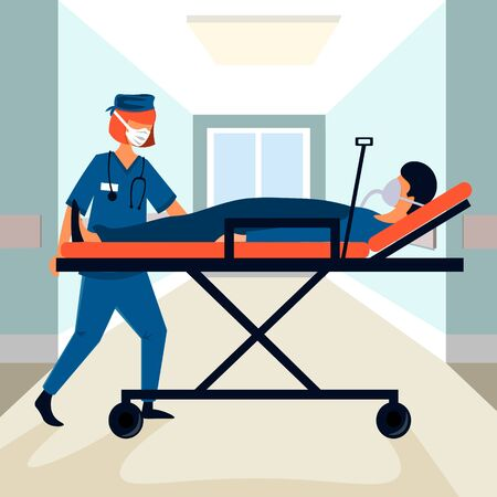 The nurse carries the patient on a hospital stretcher. Coronavirus, pandemic epidemic and treatment Vectores