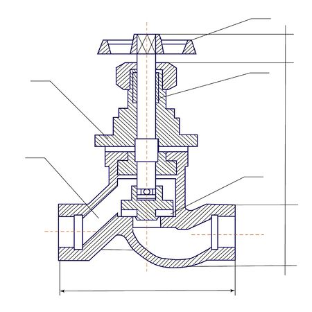 Schematic graphic illustration of a valve. Industrial tools and equipment.