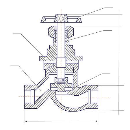 Illustration graphique schématique d'une vanne. Outils et équipements industriels.