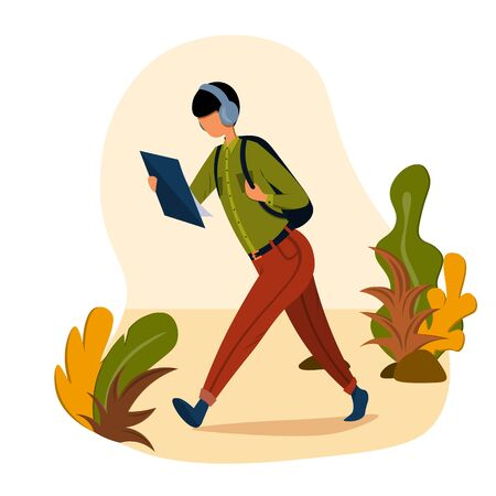 A young man in headphones is walking down the street with a backpack and reading a document. Illustration in a flat style on the theme of work and business