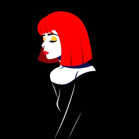 Young woman model in profile in pop art style. Sexy girl for advertising with bright hair