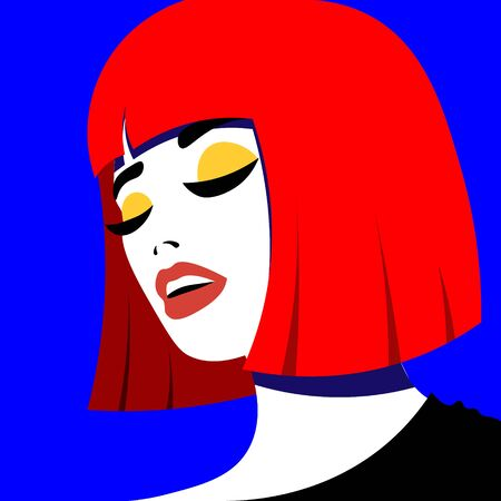 Young woman model in profile in pop art style. Sexy girl for advertising with bright hair.