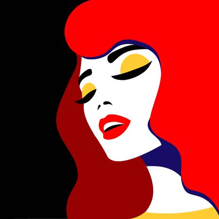 Young woman model in profile in pop art style. Sexy girl for advertising with bright hair Illustration