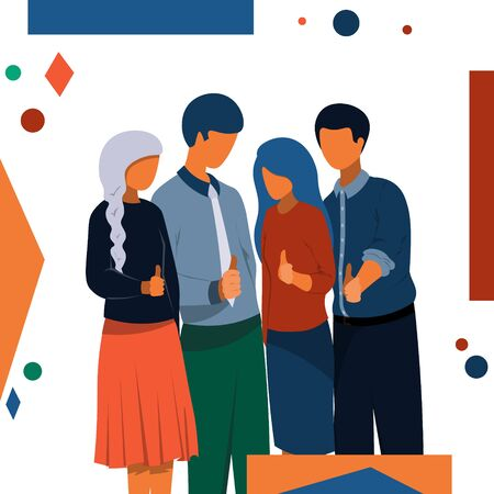A company of people stands together, showing a thumbs up. Illustration in a flat style on a business theme. Иллюстрация
