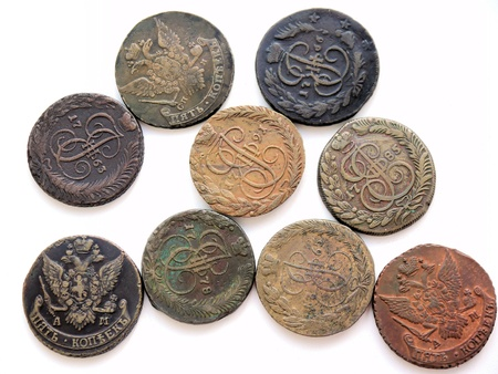 kopek: Ancient Russian copper coins of 1763-1795 Stock Photo