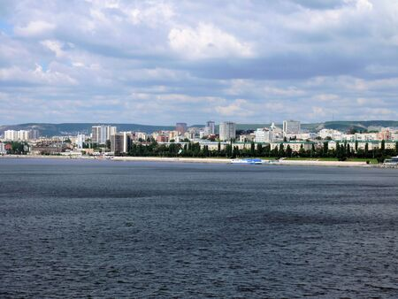 View of the city of Saratov from the bridge through Volga in July 2012  photo
