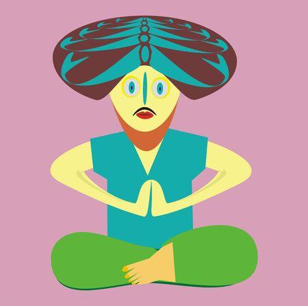 The yogi in an asana Stock Vector - 14787280