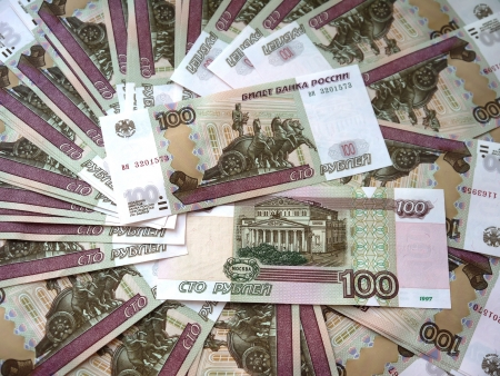 roubles: Russian banknotes in a hundred roubles.