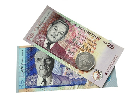 Two banknotes and one coin of Mauritius  Stock Photo