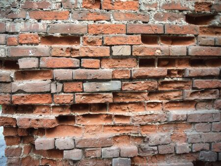 The wall of the old bricks.