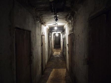 catacomb: corridor with doors in the underground cellar
