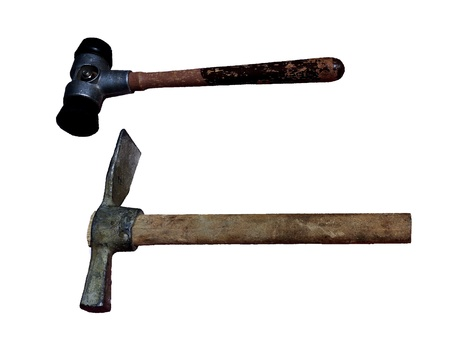 Two hammers isolated on a white background