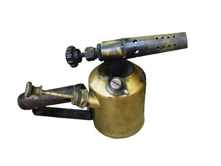 blowtorch:   Photo old blowtorch isolated on white background