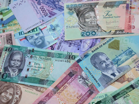 photo mix of African banknotes Stok Fotoğraf