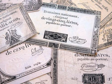 Banknotes of France of the late 18th century isolated on white background