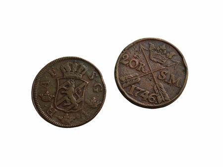 Two old Swedish coins of the 18th century isolated on a white background. Stok Fotoğraf